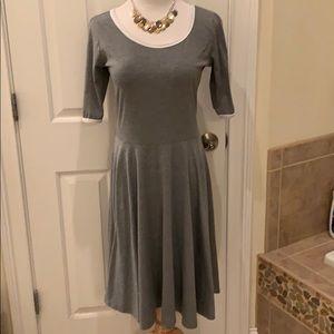 LuLaRoe Nicole Gray Half Sleeved Flared Dress